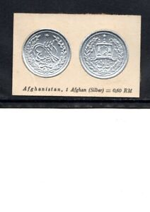 1929 AFGHANISTAN CIGARETTE CARD  1 AFGHAN  SILVER COIN NOT AN ACTUAL COIN