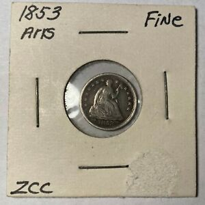 1853 US HALF DIME   TYPE 3 WITH ARROWS SEATED LIBERTY FINE