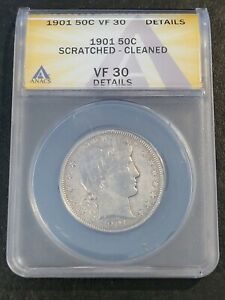 1901 BARBER HALF DOLLAR 50C ANACS  VF 30 DETAILS SCRATCHED CLEANED