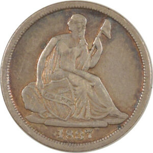 1837 LIBERTY SEATED HALF DIME   LG DATE NO STARS   PLEASING CIRCULATED EXAMPLE