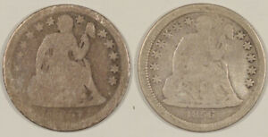 1856 & 1857 LIBERTY SEATED DIMES LOT OF 2 COINS CIRCULATED