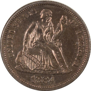 1884 LIBERTY SEATED DIME UNCIRCULATED DETAILS BUT CLEANED