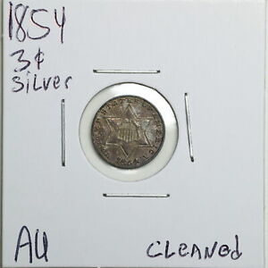 1854 3CS THREE CENT SILVER WITH AU DETAIL CLEANED 06538