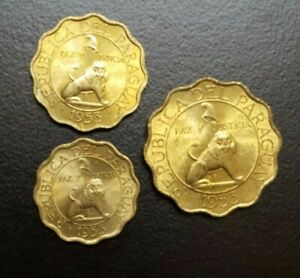 1953 PARAGUAY 10 15 50 CENTIMOS LOT SET OF 3 UNC COINS LION ANIMAL THEMATIC