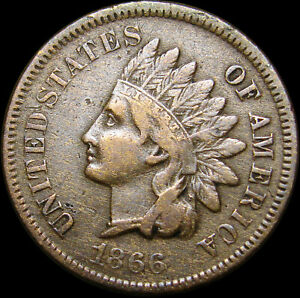 1866 INDIAN CENT PENNY         RETAINED CUD ?       R397