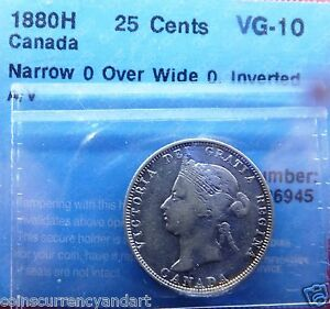 Click now to see the BUY IT NOW Price! 1880H CANADA 25CENTS NARROW O OVER WIDE O INVERTED A/V