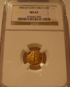 Click now to see the BUY IT NOW Price! COSTA RICA 1850 JB GOLD 1/2 ESCUDO NGC MS 63