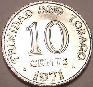 PROOF TRINIDAD & TOBAGO 1971 10 CENTS ONLY 12 000 MINTED