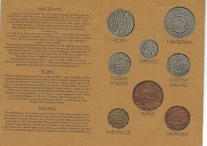1970 GREAT BRITAIN 8 COIN 6 PAGE C.O.A. DOCUMENT SET