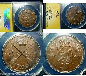 Click now to see the BUY IT NOW Price! BEST KNOWN  2 ORE   ANACS MS 62   SWEDEN 1759  HIGHEST GRADED    POPULATION 1