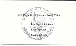 1970 PANAMA 6 COIN SINGLE PAGE C.O.A. DOCUMENT SET
