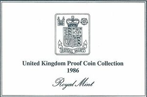 1986 GREAT BRITAIN 8 COIN 2 PAGE C.O.A. DOCUMENT SET