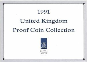 1991 GREAT BRITAIN 7 COIN 2 PAGE C.O.A. DOCUMENT SET