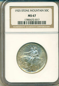 Click now to see the BUY IT NOW Price! 1925 STONE MOUNTAIN COMMEMORATE NGC CERTIFIED MS 67 FROSTY WHITE HALF DOLLAR