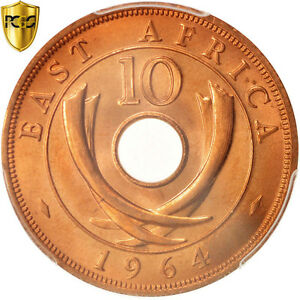 Click now to see the BUY IT NOW Price! [96567] EAST AFRICA 10 CENTS 1964 HEATON PCGS MS66RD BRONZE KM:40