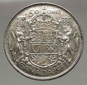 Click now to see the BUY IT NOW Price! 1953 CANADA UNDER QUEEN ELIZABETH II SILVER 50 CENTS CANADIAN COIN ARMS I56630