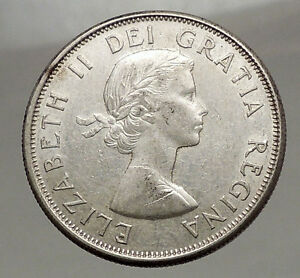 Click now to see the BUY IT NOW Price! 1960 CANADA   SILVER 50 CENTS OLD COIN UK QUEEN ELIZABETH II UNICORN LION I57119