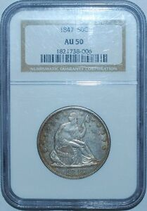 1847 NGC AU50 WB 103 RPD REPUNCHED DATE LIBERTY SEATED HALF DOLLAR