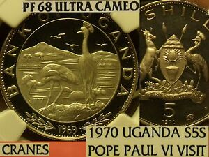 Click now to see the BUY IT NOW Price! UGANDA 1970 5 SHILLINGS  2 167 MINTED NGC PF 68 UC HIGHEST POPE PAUL VISIT