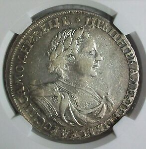 Click now to see the BUY IT NOW Price! I  1719  O RUSSIA PETER I THE GREAT SILVER ROUBLE NGC VF 35