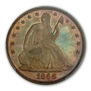 Click now to see the BUY IT NOW Price! 1866 50C MOTTO LIBERTY SEATED HALF DOLLAR PCGS PR65  CAC