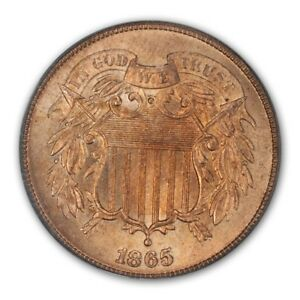 Click now to see the BUY IT NOW Price! 1865 2C PLAIN 5 TWO CENT PIECE PCGS MS66RD  CAC