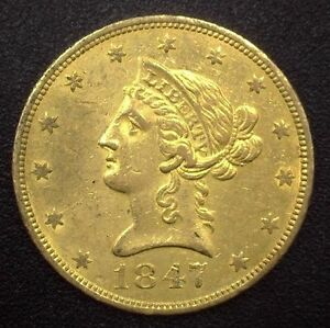 Click now to see the BUY IT NOW Price! 1847 O NO MOTTO $10.00 LIBERTY U.S. GOLD COIN AU  NEW ORLEANS MINT ISSUE