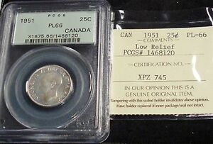 Click now to see the BUY IT NOW Price! CANADA  GEORGE VI 1951 25 CENTS LOW RELIEF  . PCGS PL66