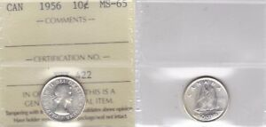 Click now to see the BUY IT NOW Price! 1956 ICCS MS65 10 CENTS CANADA TEN DIME SILVER
