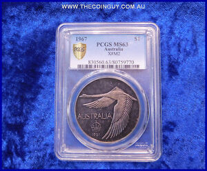 Click now to see the BUY IT NOW Price! 1967 AUSTRALIAN ONE DOLLAR SWAN PATTERN PCGS MS63