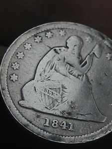 1841 P SILVER SEATED LIBERTY QUARTER  VG/FINE DETAILS