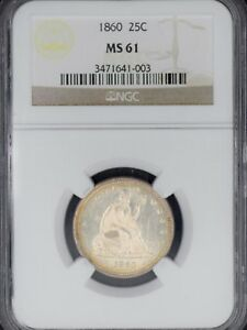 Click now to see the BUY IT NOW Price! 1860 NGC 25C MS61 SEATED QUARTER MS61