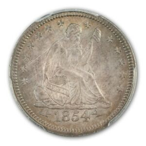 Click now to see the BUY IT NOW Price! 1854 25C ARROWS LIBERTY SEATED QUARTER PCGS MS66