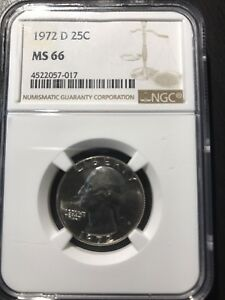 1972 D WASHINGTON QUARTER NGC MS 66 COMBINED SHIPPING AVAILABLE