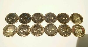 LOT OF 12 UNCIRCULATED NICKLES 1960 TO 1980 GOOD CONDITION.
