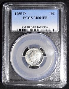 1955 D ROOSEVELT SILVER DIME   PCGS MS64FB   SEMI KEY DATE WITH FULL BANDS