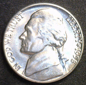1958 D JEFFERSON NICKEL UNC FIVE CENT CHOICE BU COIN FROM BWR MADE IN USA