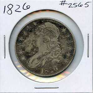 1826 50C CAPPED BUST SILVER HALF DOLLAR. CIRCULATED. LOT 2282