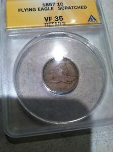 1857 1C FLYING EAGLE CENT ANACS VF 35 DETAILS  USA X001334