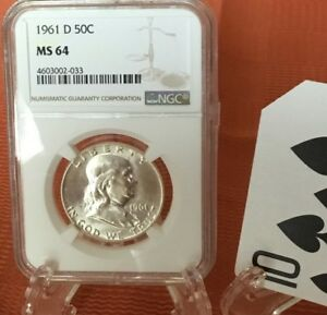 1961 D FRANKLIN SILVER HALF DOLLAR. NGC CERTIFIED MS 64. BEAUTIFUL COIN