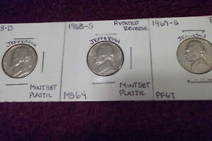 1968 D MINT STATE / 1968 S MINT STATE /1969 S HIGH END PROOF JEFFERSON NICKEL