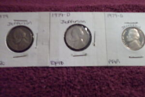 1979 P MINT STATE / 1979 D EXTRA FINE / 1979 S HIGH PROOF END JEFFERSON NICKELS