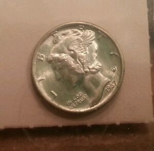 DIME 1937 MERCURY TERRIFIC COLOR SUPERB GEM