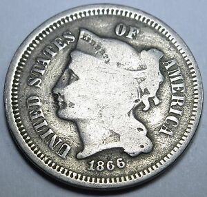 1866 DIE CRACKS US THREE CENT NICKEL PIECE ANTIQUE 3 PENNY OLD CURRENCY COIN USA