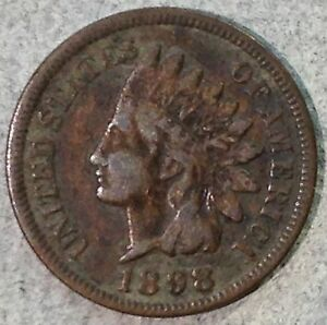 1898 INDIAN HEAD CENT VF