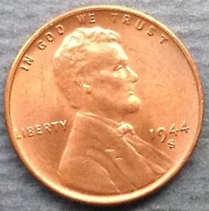 1944 S LINCOLN CENT BU RED
