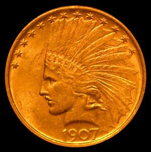 1907 INDIAN HEAD $10 GOLD EAGLE NGC MS61 NO MOTTO
