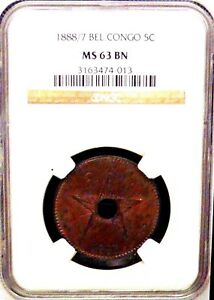 Click now to see the BUY IT NOW Price! 1888 / 7 BELGIUM CONGO 5C NGC MS 63BN CENTER HOLE