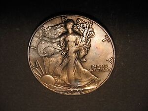 1947 D WALKING LIBERTY HALF DOLLAR   NICELY TONED   17 563
