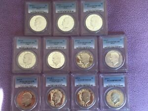 Click now to see the BUY IT NOW Price! EISENHOWER SILVER DOLLAR COMPLETE SET  PCGS GRADED PR70DCAM  SILVER AND CLAD